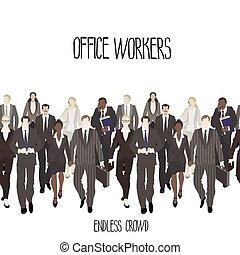 巨大, 人群, ......的, 辦公室工作人員