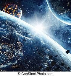 巨大, 割れる, 供給される, これ, 抽象的, space., nasa., 惑星, 要素, 溶岩, イメージ