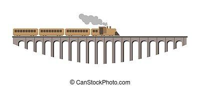 巨大, 古い橋, 型, 長い間, 列車, 蒸気