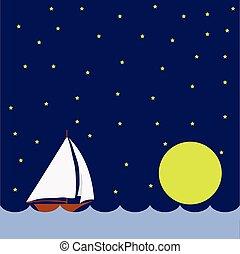 巨大, 夜, ボート, 航海, 月