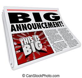 巨大, 発表, 見出し, 大きい, 新聞, ニュース