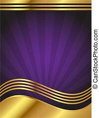 巨大, 紫色, 同时,, 金子, 背景