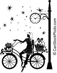 巨大, 美丽, 在一辆自行车上的女孩