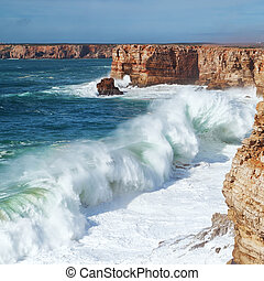 巨大, 行く, 波, storm., 陸上, 海洋