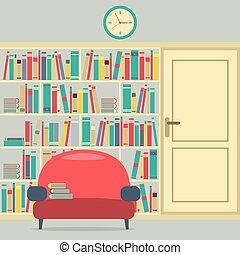 巨大, 読書, bookcase., 席