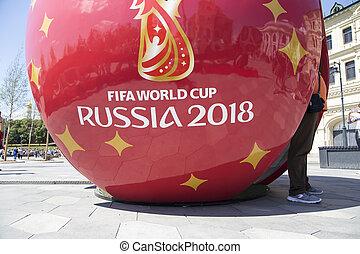 巨大, 象征性, 足球, 带, 符号, 在中, the, fifa, 世界杯, 2018, 在中。, 莫斯科