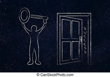 巨大, 門, 鑰匙, 打開, 成功, 藏品,  keywords, 人