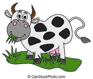 巨大, 食べること, 牛, フィールド