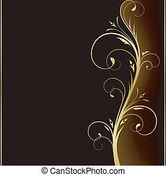 巨大, 黑的背景, 带, 金色, 植物群的设计, 元素