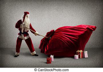 巨大, claus, 贈り物, 袋, santa, 引き
