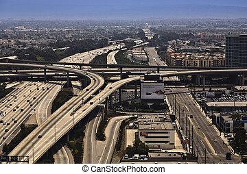 巨大, crosing, 通り, 着陸, 高速道路, los, 空港, アンジェルという名前の人たち, 光景