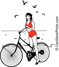 巨大, pinup, 在一辆自行车上的女孩