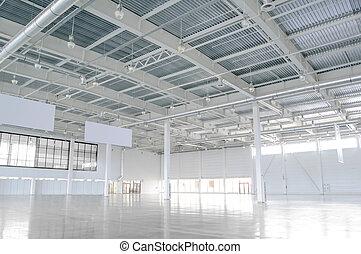 巨大, storehouse., 倉庫, ライト, 現代, 新しい, 空
