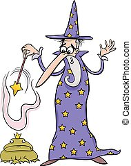 巫術師, 幻想, 卡通, 插圖