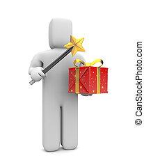 巫術師, 由于, 魔棒, 以及, 禮物, box., 圖像, 包含, 裁減路線