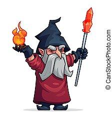 巫術師, 邪惡, 卡通, 坏, 矢量, 魔術師, 或者, 圖象