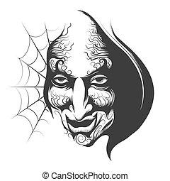 巫術師, 邪惡, 臉