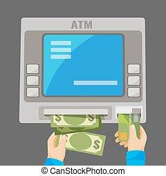 差し込むこと, 撤回, atm, 灰色, 手, クレジット, お金, カード