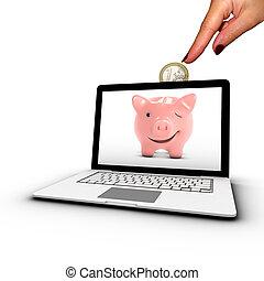 差し込むこと, placement., 女性, laptop., 手, 概念, オンラインで, コイン銀行