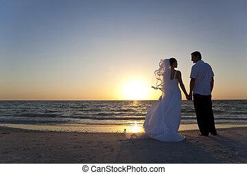 已结婚, &, 夫妇, 新郎, 新娘, 日落, 婚礼, 海滩