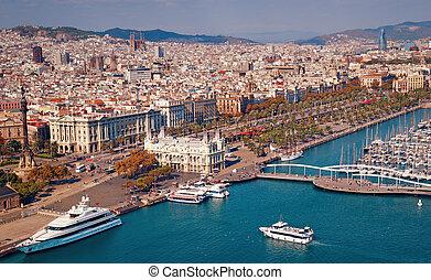 巴塞羅那, 地平線, sagrada familia, 以及, torre, agbar, 是, visible.