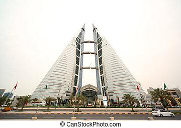 巴林, -, april, 16:, 巴林, 世界貿易中心, -, skyscrapper, 近, 路, 由于, 旗,...