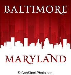 巴爾的摩, 馬里蘭, 背景, 地平線, 城市, 紅色, 黑色半面畫像