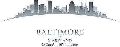 巴爾的摩, 馬里蘭, 背景, 地平線, 城市, 黑色半面畫像, 白色