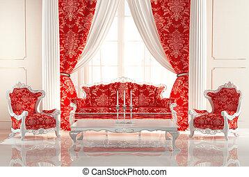 巴罗克艺术风格, 沙发, 同时,, 扶手椅子, 在中, 老, 皇家, 内部, design., 豪华, furniture.