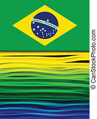 巴西, 蓝色, 黄色, 波浪, 旗, 绿色的背景