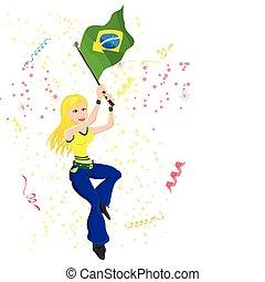 巴西, 足球, 迷, 由于, flag.