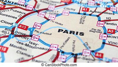 巴黎, 如, a, 旅行目的地, 上, a, 地圖
