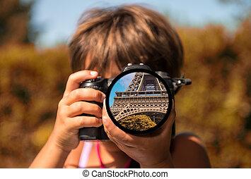 巴黎, 透過, the, 眼睛, ......的, a, 孩子