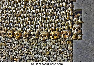 巴黎, les, catacombes