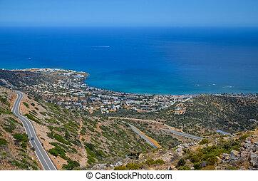 巻き取り, 山, 道, crete, 島