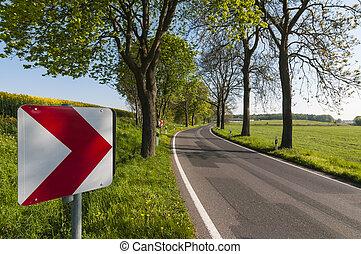 巻き取り, 田舎の道路, ∥で∥, 交通標識
