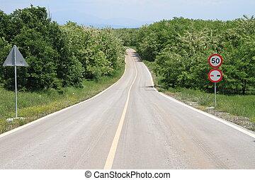 巻き取り, 田舎の道路, ∥で∥, 制限速度サイン