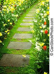 巻き取り, 石の庭, 方法, 歩きなさい