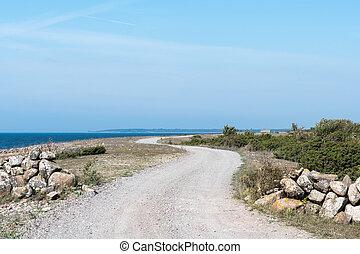 巻き取り, 砂利道路, 海岸