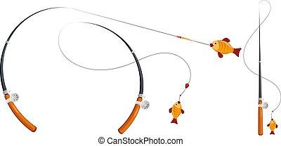 巻き枠, float., セット, 棒, レクリエーションである, equipment., 線, イラスト, 漫画, ホック, sports., ベクトル, 釣り, 主題, style., 株