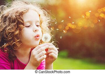 巻き毛, わずかしか, 吹く, 女の子, dandelion.