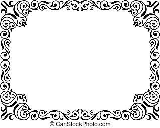 巻き毛, フレーム, 黒, 筆跡, バロック式, カリグラフィー