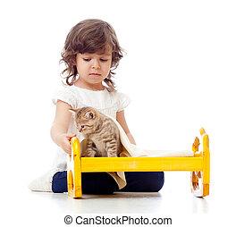 巻き毛, 母, 子供, 子ネコ, 赤ん坊, 女の子, 遊び
