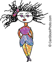 巻き毛, 色, イラスト, 図画, 毛, ベクトル, 女性, ∥あるいは∥