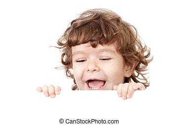 巻き毛, 面白い, 子供, 顔, 保有物, ブランク, 広告, 旗