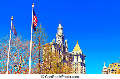 市の, マンハッタン, 反射作用, 建物, より低い