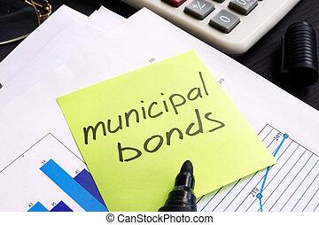 市の, メモ, 書かれた, スティック, documents., 債券