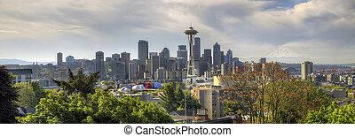 市区, 西雅图地平线, 带, 爬升多雨