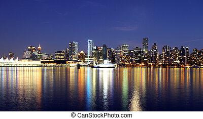 市區, 加拿大, 溫哥華, 夜晚,  BC