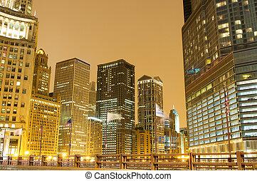 市區, 區域, 芝加哥, 夜晚